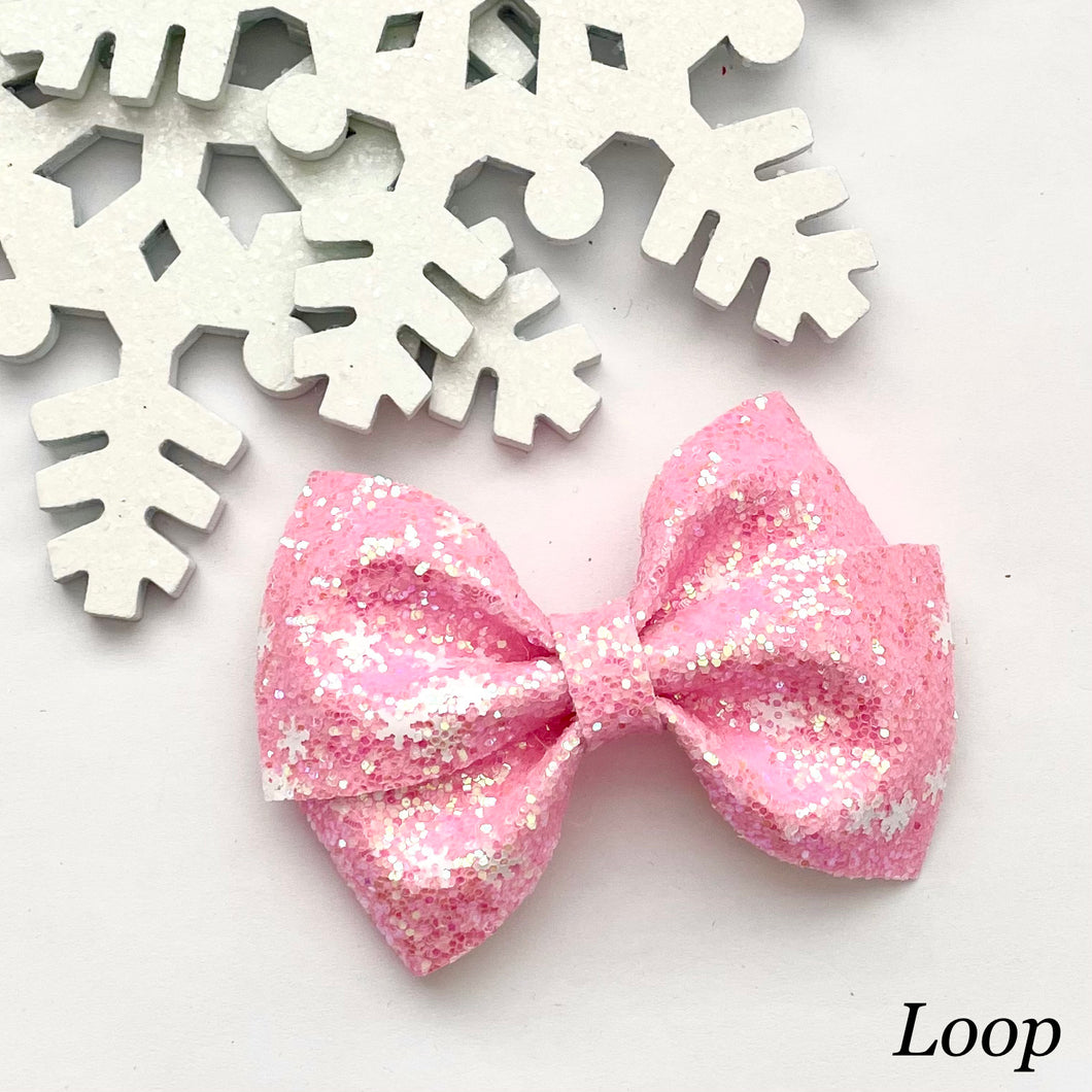 Glitter Bow- PINK SNOWFLAKES