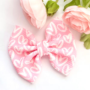 Fabric Bow- PINK HEARTS