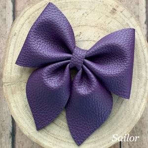 Leather Bow- PURPLE