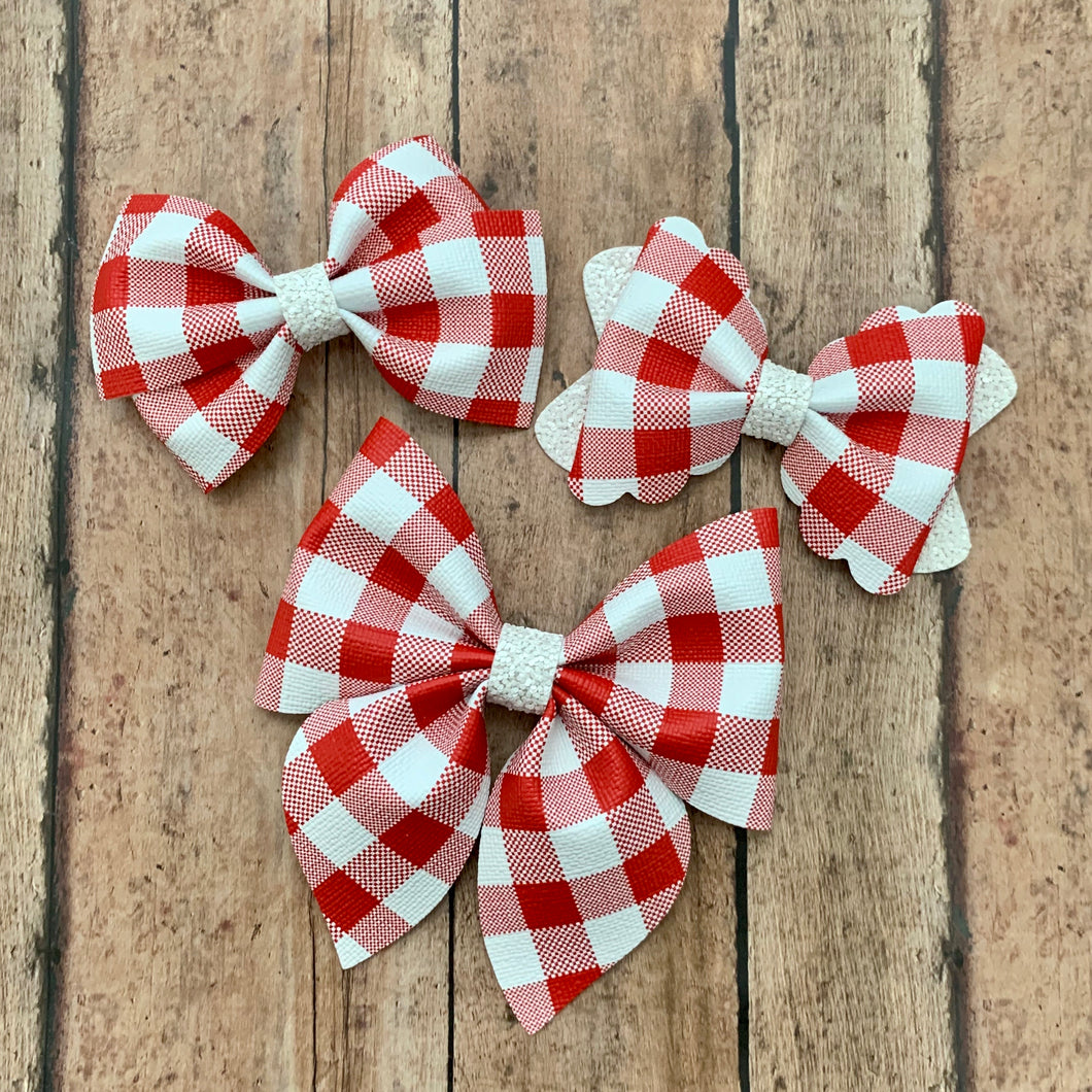 Leather Print- RED/WHITE BUFFALO PLAID