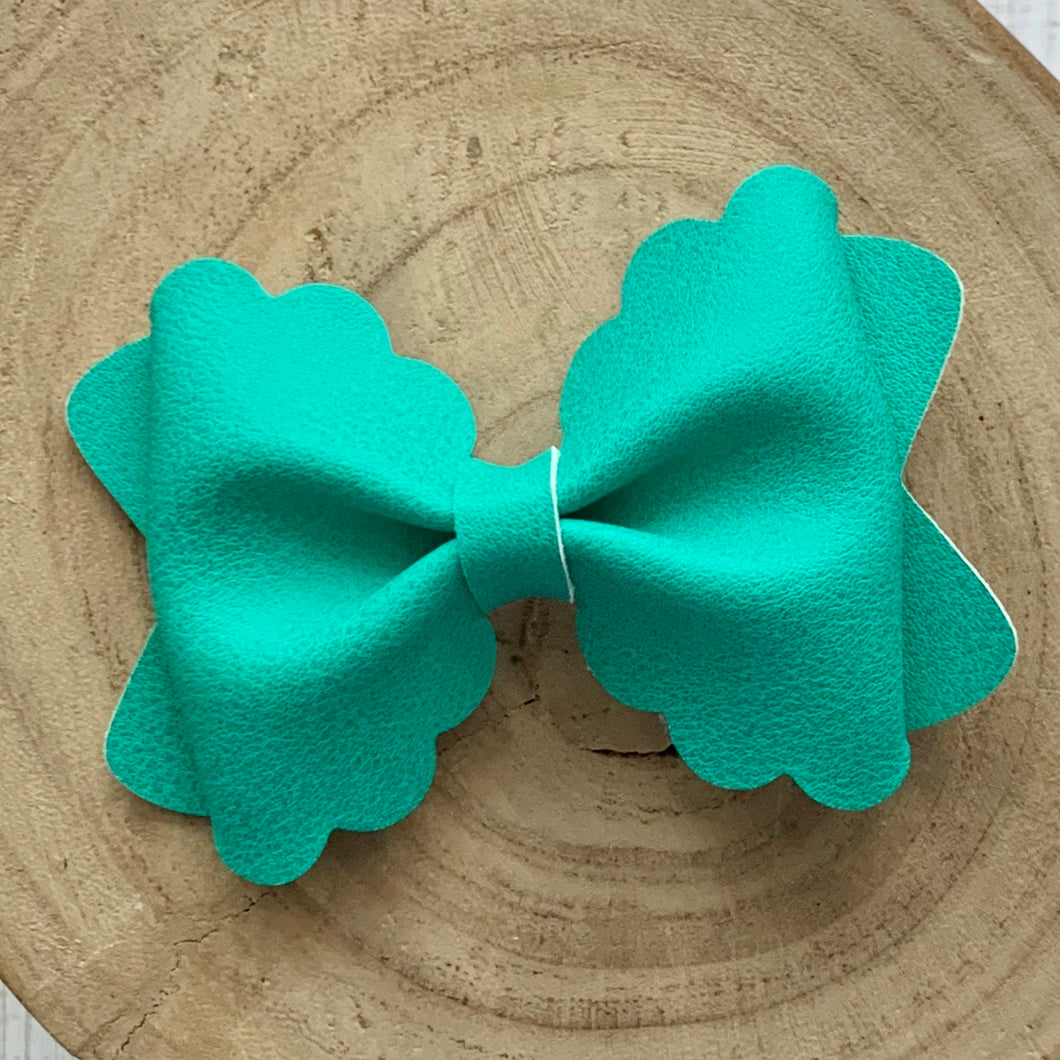 Leather Bow- SMOOTH JUNGLE GREEN