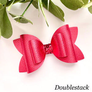 Leather Bow- METALLIC RED