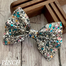 Load image into Gallery viewer, Glitter Bow- SILVER FUNFETTI
