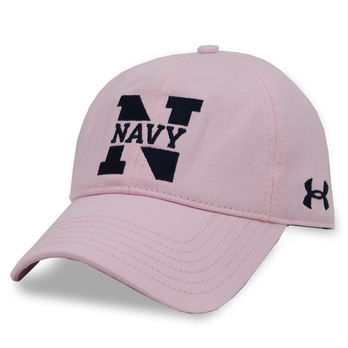 Navy Ladies Under Armour N Garment Washed Cotton Hat (Pink)