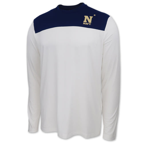 Navy Under Armour Long Sleeve Training T-Shirt (White)