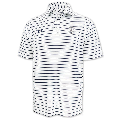 Navy Under Armour M's Easy Stripe Sideline Polo (White)