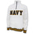 Navy Tackle Twill Stripe Fleece 1/4 Zip (White)
