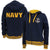 Navy Anchor Ladies Embroidered Fleece Stripe Full Zip (Navy)