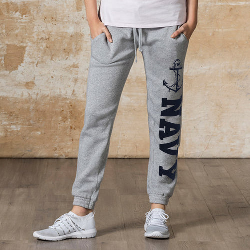 Navy Ladies Angel Fleece Sweatpants (Heather Grey)