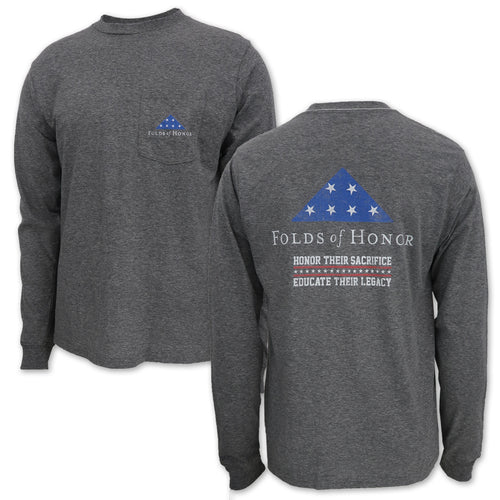 FOLDS OF HONOR FLAG LONG SLEEVE POCKET T-SHIRT (GREY) 2