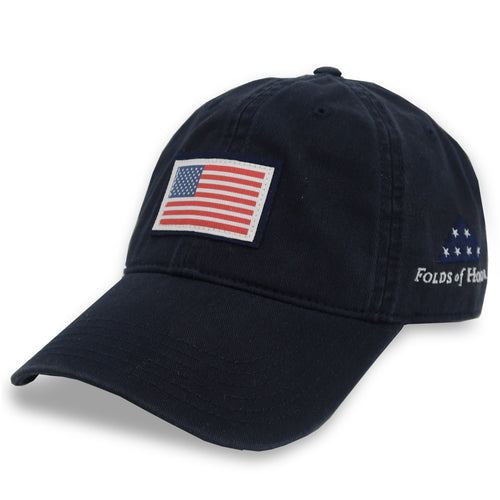 FOLDS OF HONOR USA FLAG LOW PROFILE TWILL HAT (NAVY) 2