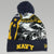 NAVY ALL OVER GOAT BEANIE 1