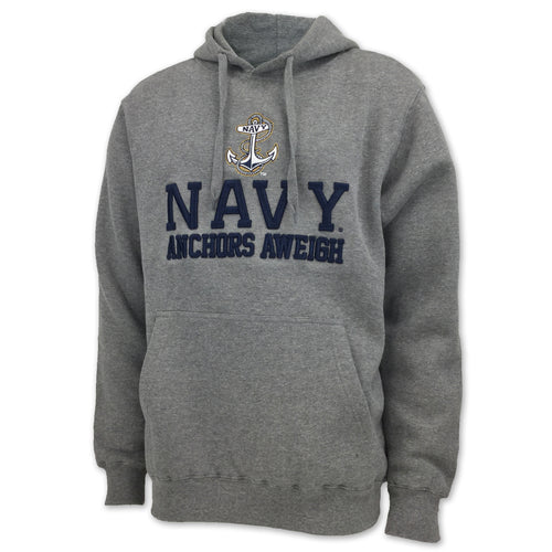 NAVY ANCHORS AWEIGH FLEECE HOOD (GREY)
