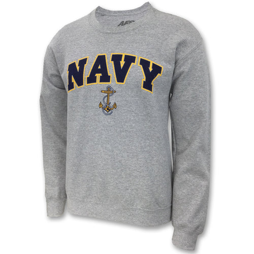NAVY ARCH ANCHOR CREWNECK (GREY) 2