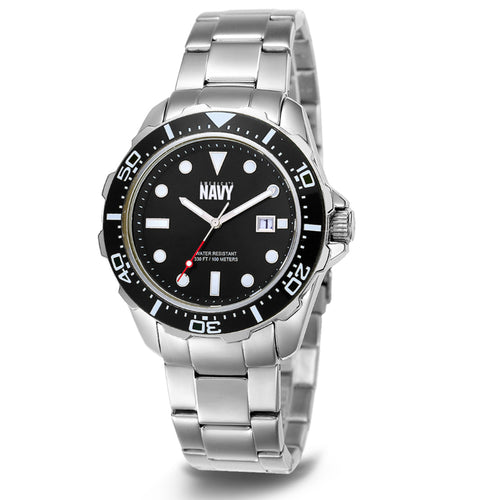 NAVY C39 METAL WATCH (SILVER)