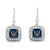 NAVY EAGLE CRYSTAL SQUARE EARRINGS