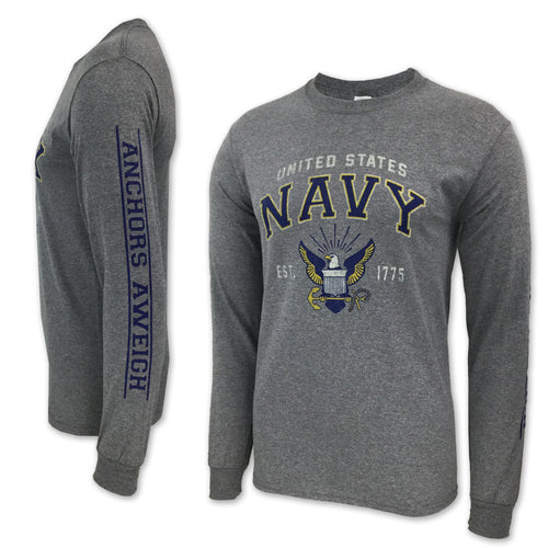 NAVY EAGLE EST. 1775 LONG SLEEVE T-SHIRT (GREY) 6