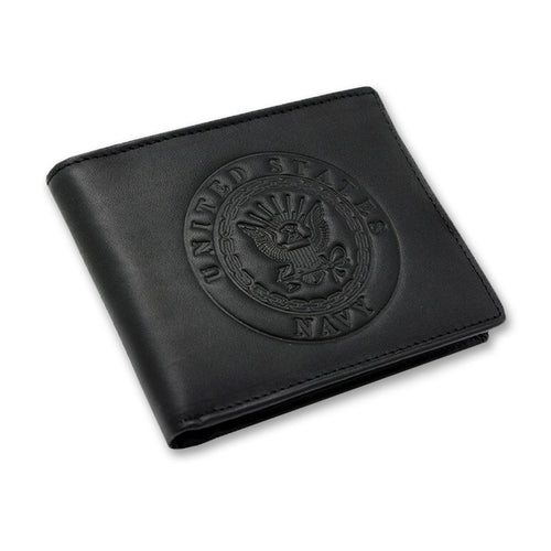 NAVY EMBOSSED BIFOLD WALLET 2