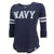 NAVY LADIES 3/4 SLEEVE TEE (HEATHER NAVY)