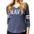 NAVY LADIES 3/4 SLEEVE TEE (HEATHER NAVY) 2