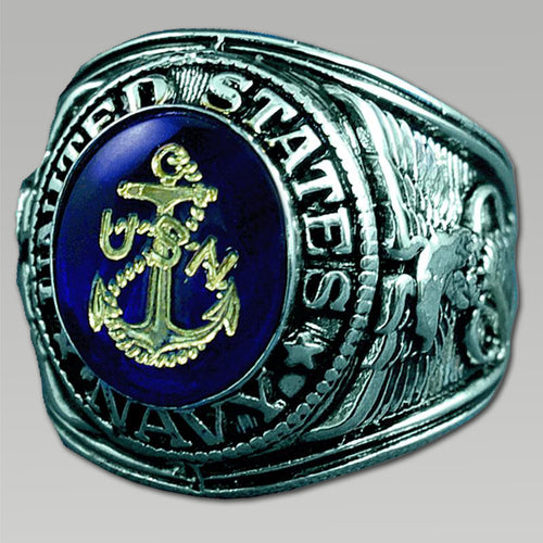 NAVY RHODIUM PLATED RING