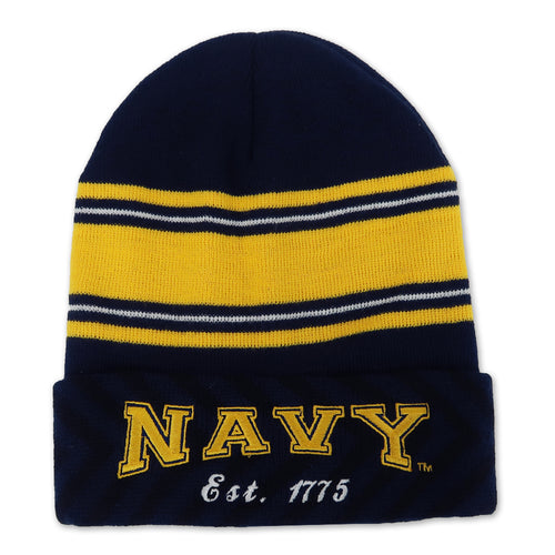 NAVY STRIPED WATCH CAP (NAVY) 1