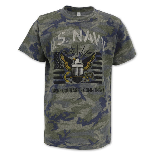 NAVY YOUTH VINTAGE STENCIL T-SHIRT (CAMO) 1