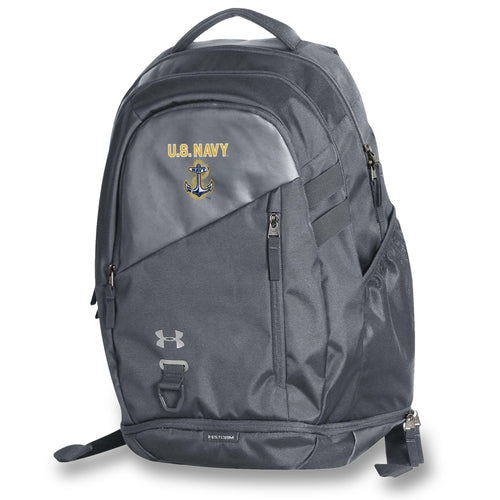 U.S NAVY ANCHOR UNDER ARMOUR HUSTLE 4.0 BACKPACK (GREY)