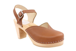 FLORENCE TAN CLOG SANDAL ON A NATURAL MID HEEL