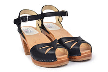 Load image into Gallery viewer, RIO BLACK CLOG SANDAL ON A NATURAL HIGH HEEL