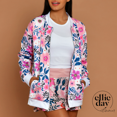 pink floral apres golf and tennis bomber jacket, perfect fall layer