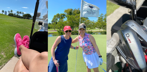Women Golfing and Golf Cart and Golf Clubs