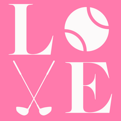 LOVE spelled with tennis ball and golf clubs