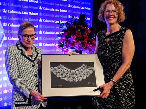 Ruth Bader Ginsburg at Columbia Law receiving Lace Collar Award for 25 years service