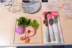 Floral and acetate tabletop setting for micro-wedding