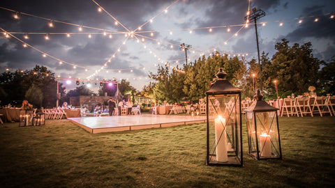 outdoor wedding reception with fairy lights