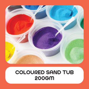 Coloured Sand Tub Large 200gm in 12 Assorted Colours