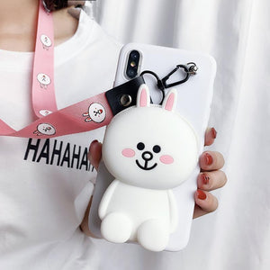 Cartoon Storage Phone Case For iPhone (With Lanyard)