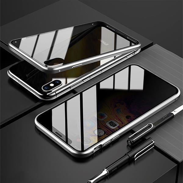 Privacy Magnetic Case for iPhone XS MAX, Clear Double Sided Tempered Glass Thin Anti-Spy 360 Full Protective Waterproof Phone Case