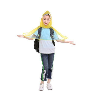 Cute-Foldable-UFO-Shape-Cloak-Children-Raincoat-Umbrella
