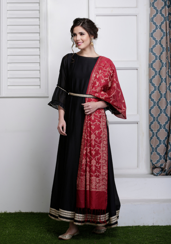 Black Anarkali with Banarasi Dupatta & belt (set of three)