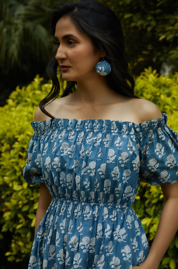Alula Space Blue Off Shoulder Dress