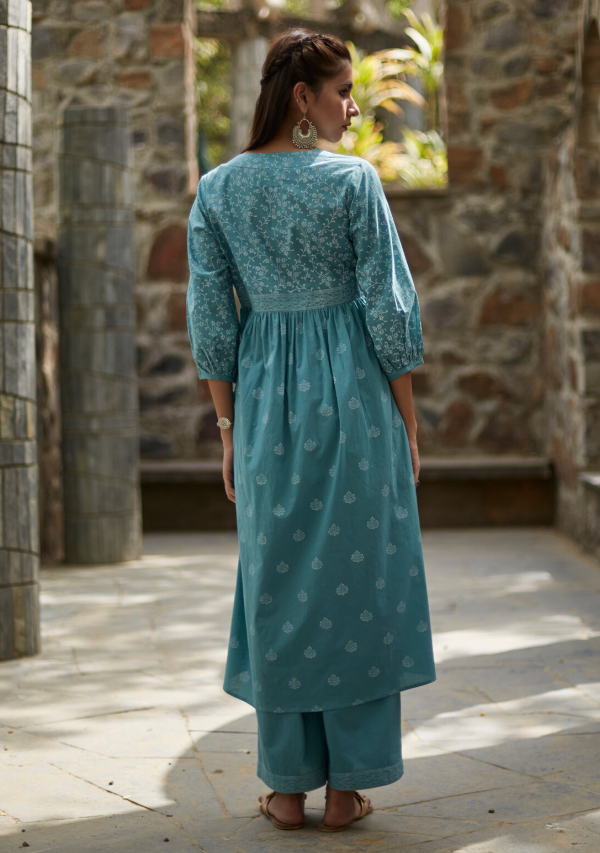 Aqua Blue Cotton Sara Kurta