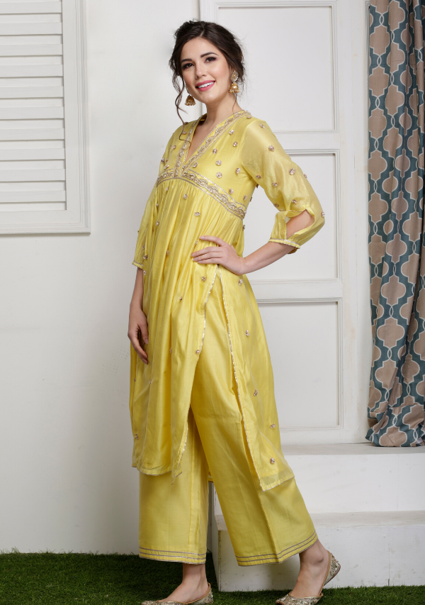 Peela Hara Kurta set w/ Dupatta (set of three)