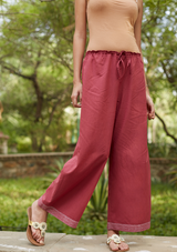 Brick Red Cotton Pants