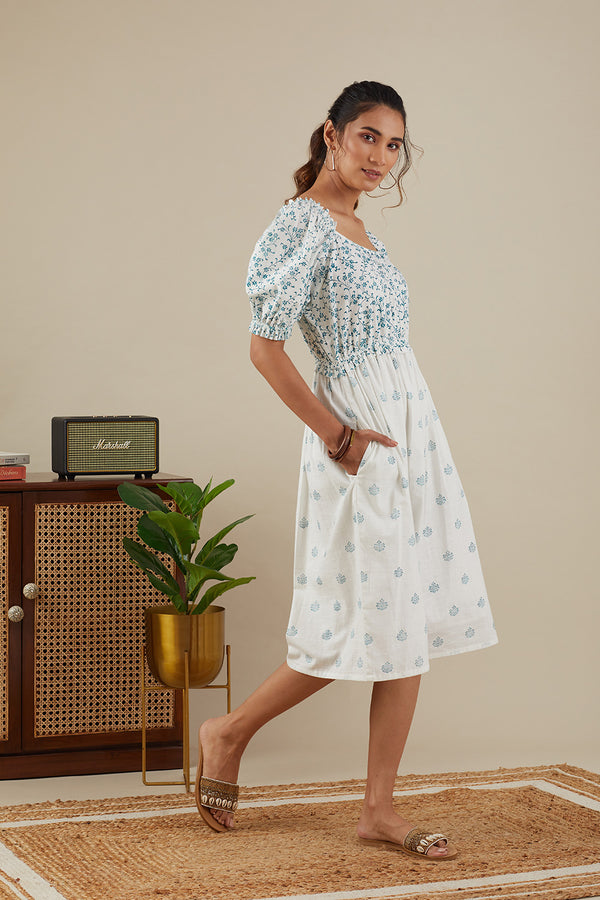 Floret Dress w/ pockets- Teal Blue