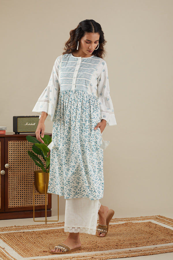 Teal Blue Sriya Stripe kurti w/ Pants (Set of Two)