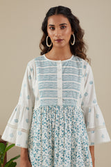 Sriya Stripe Lace Teal Blue Kurti