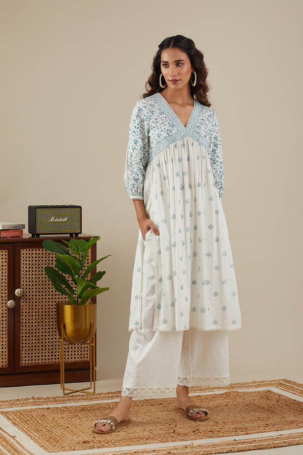 Sara Lace V-neck Teal Blue Kurti