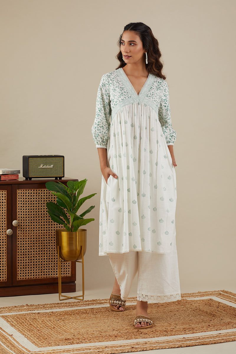 Leafy Green Sara Kurti with pants (Set of Two)